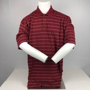 Bolle Red & White Striped Golf Athletic Polo Shirt